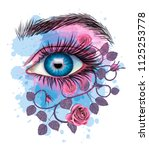 floral eye   stylized art | Shutterstock . vector #1125253778