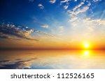 Orange Mystic Sunset On The  Sea