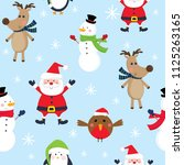 seamless cute christmas ... | Shutterstock .eps vector #1125263165