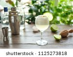 pisco sour cocktail. peruvian ... | Shutterstock . vector #1125273818