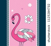 cute flamingo with flower...   Shutterstock .eps vector #1125284732