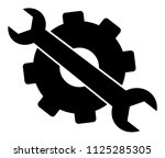 black gear and wrench vector... | Shutterstock .eps vector #1125285305