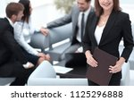 young business woman on blurred ... | Shutterstock . vector #1125296888