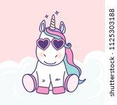 cute cartoon unicorn vector... | Shutterstock .eps vector #1125303188