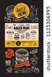 burger restaurant menu. food... | Shutterstock .eps vector #1125306995