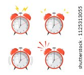 cartoon alarm clock ringing....   Shutterstock .eps vector #1125313055