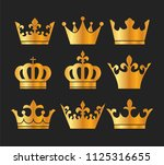 gold crowns set   set of gold... | Shutterstock .eps vector #1125316655