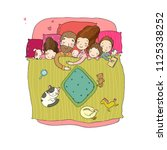 the family sleeps in bed....   Shutterstock .eps vector #1125338252