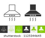 cooker hood black linear and... | Shutterstock .eps vector #1125344645