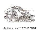 the potala palace in lhasa ... | Shutterstock .eps vector #1125356318