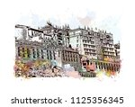 the potala palace in lhasa ... | Shutterstock .eps vector #1125356345
