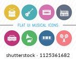 flat ui 8 color music icon set. ...