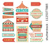 Old carnival circus banners and carnival labels vector set. Circus festival, arrow banner to entertainment illustration