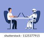 robot and businessman. robots... | Shutterstock .eps vector #1125377915