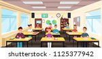 pupils study in classroom... | Shutterstock .eps vector #1125377942