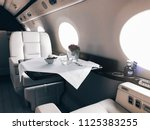 interior of a private luxury jet | Shutterstock . vector #1125383255