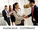 meeting of group of... | Shutterstock . vector #1125386642