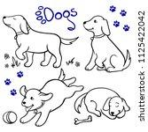 vector set of cartoon cute dogs ... | Shutterstock .eps vector #1125422042