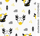 wild deer and cow hand drawn... | Shutterstock .eps vector #1125424862