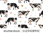 seamless pattern with milk... | Shutterstock .eps vector #1125428942