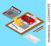 car valuation and insurance.... | Shutterstock .eps vector #1125444155
