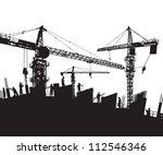 construction site silhouette ... | Shutterstock .eps vector #112546346