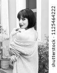 girl smile with brunette hair ...   Shutterstock . vector #1125464222
