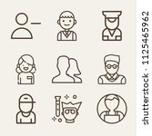 set of 9 profile outline icons... | Shutterstock . vector #1125465962