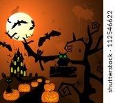 happy halloween theme greeting... | Shutterstock . vector #112546622