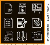 set of 9 document outline icons ...