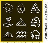 set of 9 nature outline icons... | Shutterstock . vector #1125482555