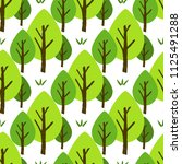 seamless tree pattern. colorful ... | Shutterstock .eps vector #1125491288