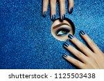 a girl with beautiful long... | Shutterstock . vector #1125503438