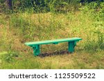 wooden old bench of resting... | Shutterstock . vector #1125509522