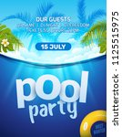 pool summer party invitation... | Shutterstock .eps vector #1125515975