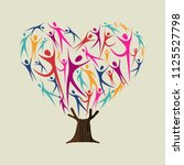 heart shape tree made of... | Shutterstock .eps vector #1125527798