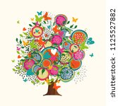 floral tree made of colorful... | Shutterstock .eps vector #1125527882