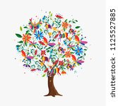 floral tree made of colorful... | Shutterstock .eps vector #1125527885