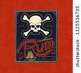 vintage rum label badge. strong ... | Shutterstock .eps vector #1125536735