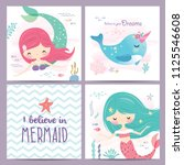 set of mermaid and marine life... | Shutterstock .eps vector #1125546608