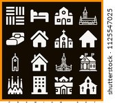 set of 16 buildings filled... | Shutterstock . vector #1125547025