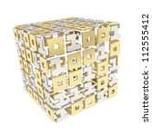 IT Technology and cybernetics: dimensional cube made of ones and zeros isolated on white - stock photo