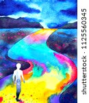 human walking in rainbow road... | Shutterstock . vector #1125560345