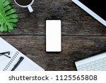 smartphone white screen on... | Shutterstock . vector #1125565808