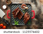 grilled ribs with barbeque... | Shutterstock . vector #1125576602