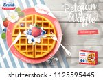 belgian waffle ads with... | Shutterstock .eps vector #1125595445