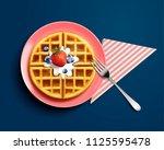 delicious belgian waffle design ... | Shutterstock .eps vector #1125595478