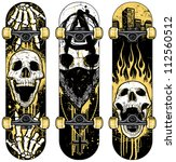 Set Of Vector Skull Themed...