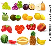 illustration set ripe fruit and ... | Shutterstock . vector #112561205