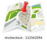 trifold town map with push pin | Shutterstock .eps vector #112562096